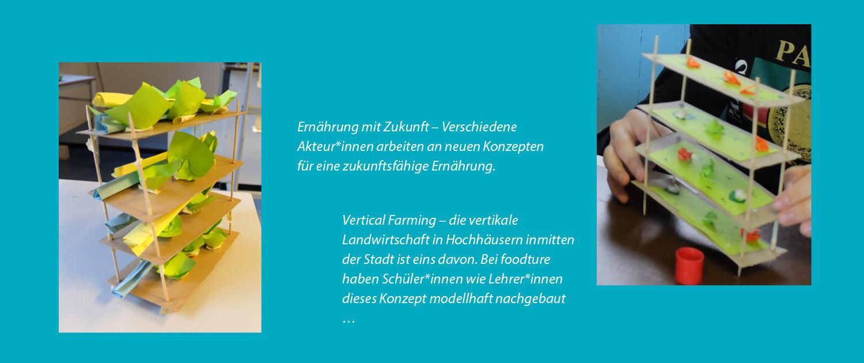 Modelle von Vertical Farming bei Workshops von foodture